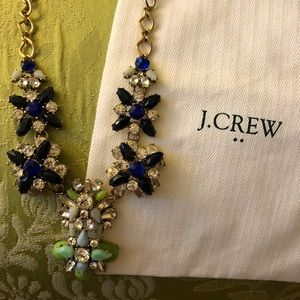 J. Crew Statement Necklace with Navy Blue & Green